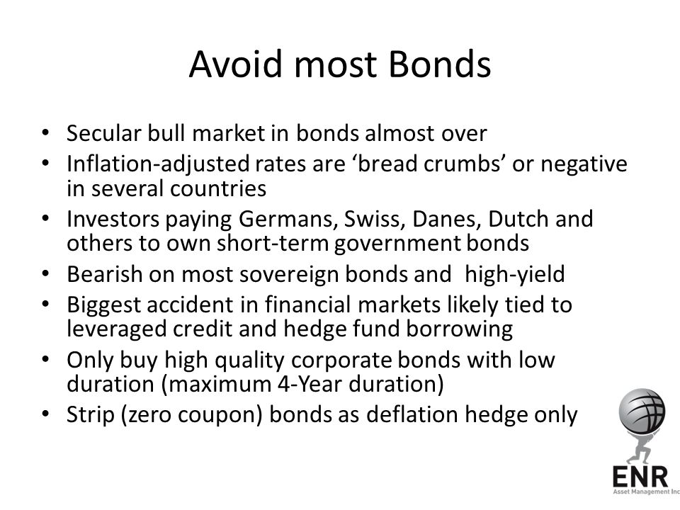 Avoid most Bonds Secular bull market in bonds almost over