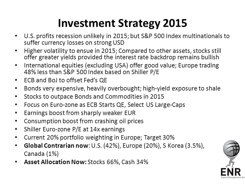 Investment Strategy 2015 U.S. profits recession unlikely in 2015; but S&P 500 Index multinationals to suffer currency losses on strong USD.