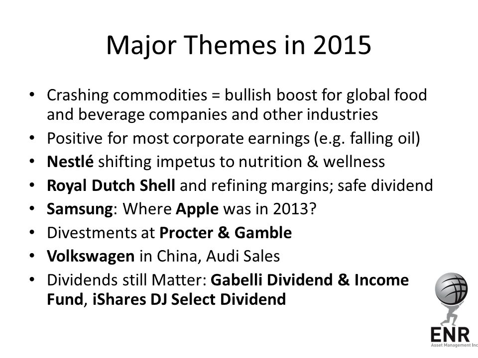 Major Themes in 2015 Crashing commodities = bullish boost for global food and beverage companies and other industries.