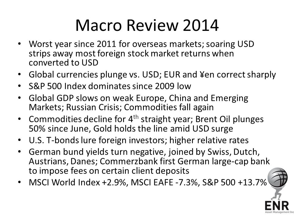 Macro Review 2014 Worst year since 2011 for overseas markets; soaring USD strips away most foreign stock market returns when converted to USD.