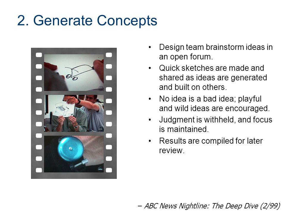2. Generate Concepts Design team brainstorm ideas in an open forum.