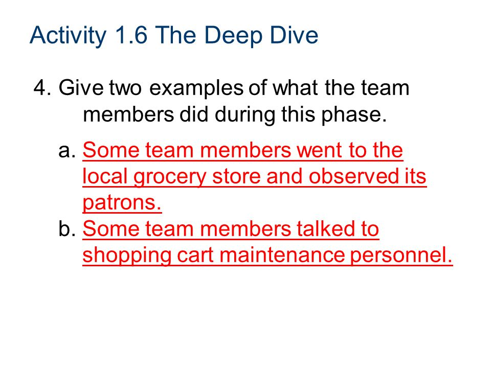 Activity 1.6 The Deep Dive 4. Give two examples of what the team members did during this phase. a. Some team members went to the.