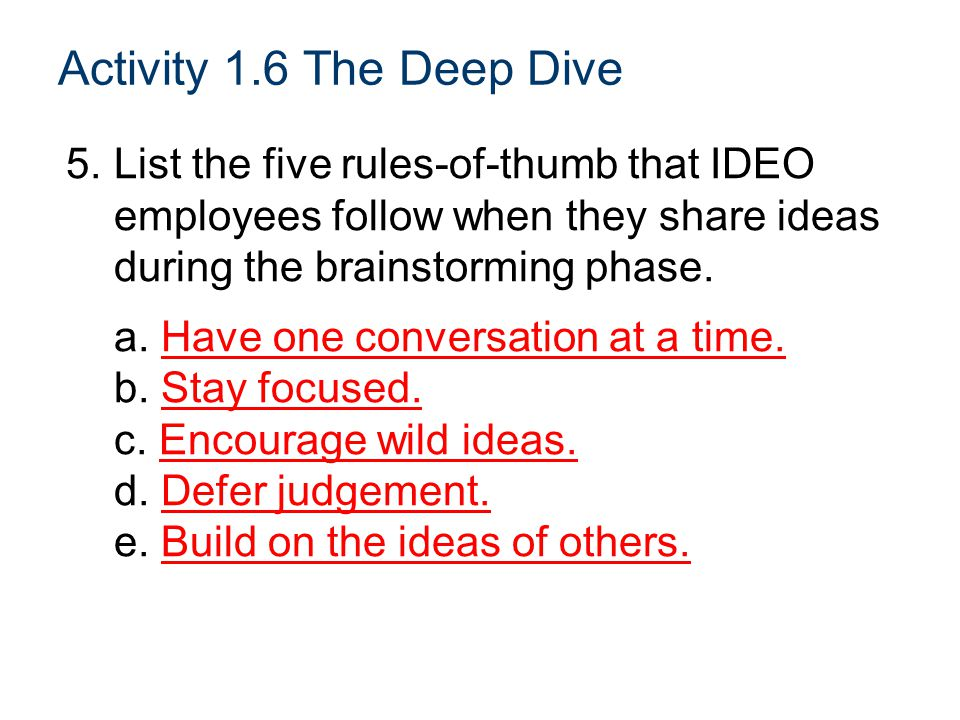 Activity 1.6 The Deep Dive 5. List the five rules-of-thumb that IDEO employees follow when they share ideas during the brainstorming phase.