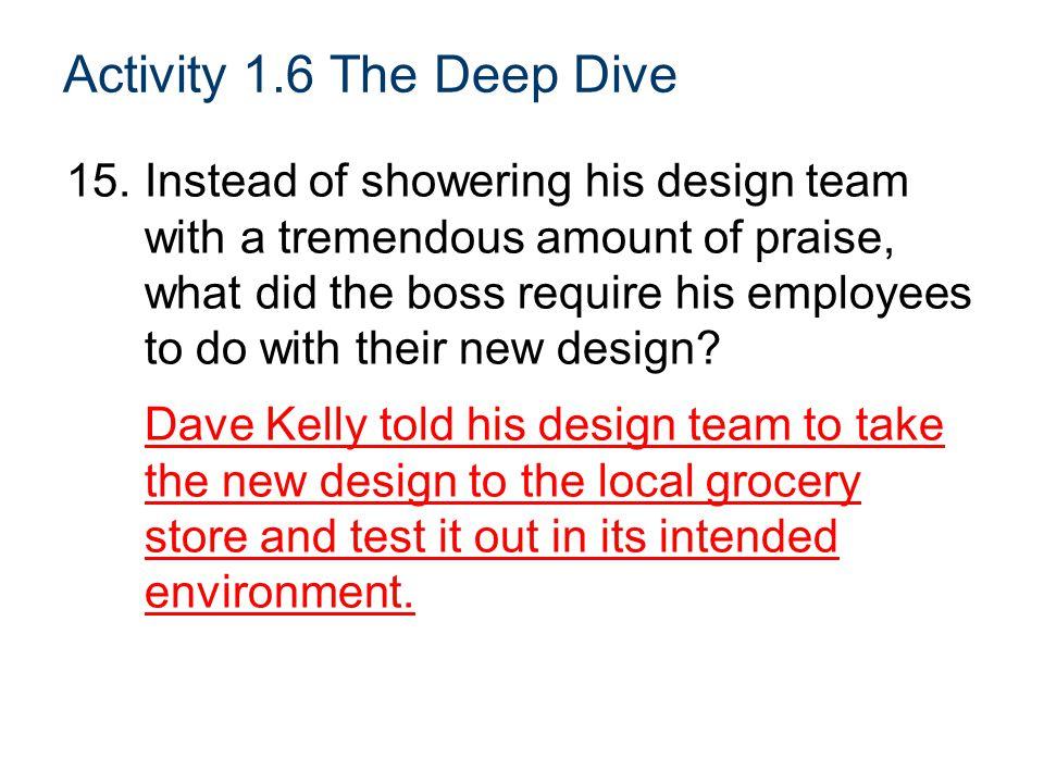 Activity 1.6 The Deep Dive
