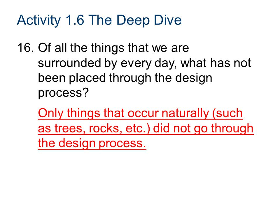 Activity 1.6 The Deep Dive Of all the things that we are surrounded by every day, what has not been placed through the design process
