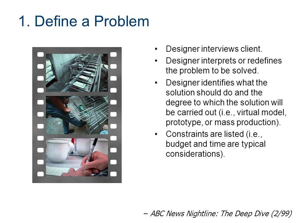 1. Define a Problem Designer interviews client.