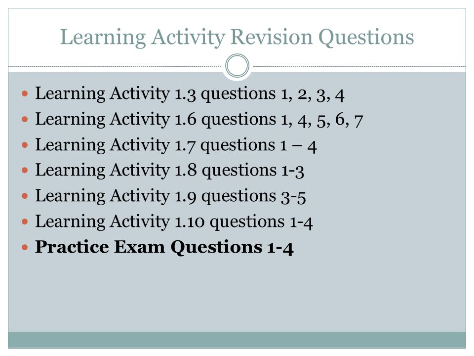 Learning Activity Revision Questions