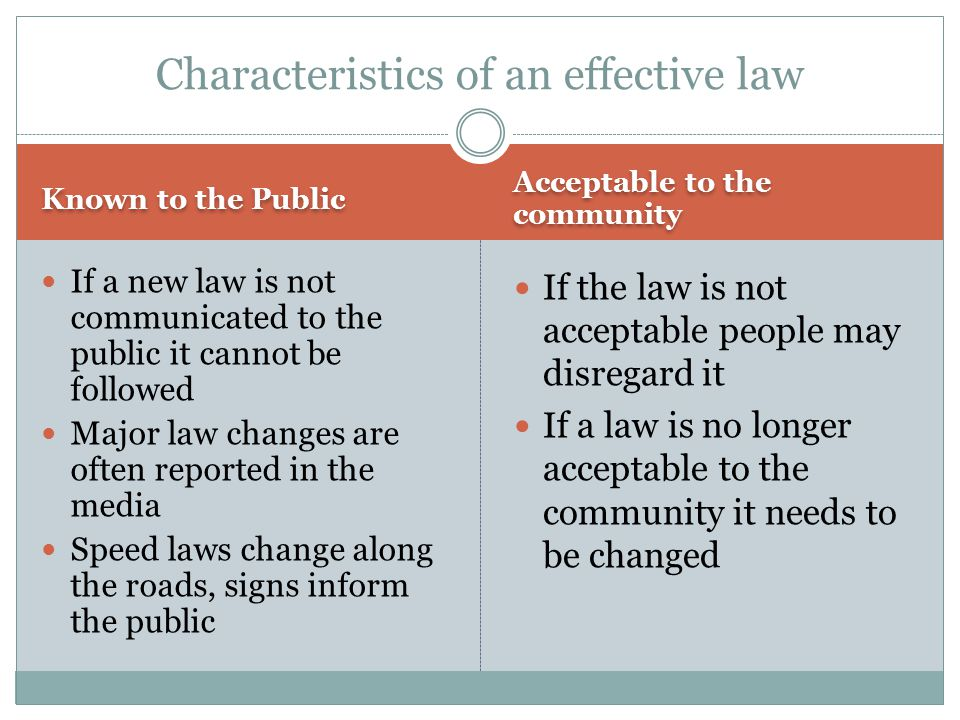 Characteristics of an effective law