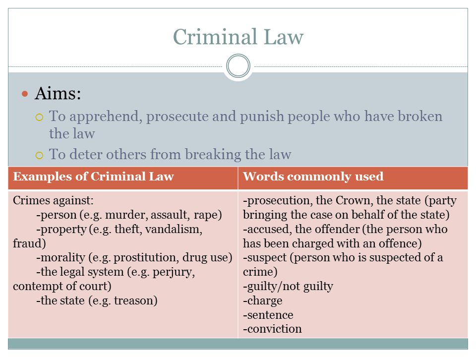 Criminal Law Aims: To apprehend, prosecute and punish people who have broken the law. To deter others from breaking the law.