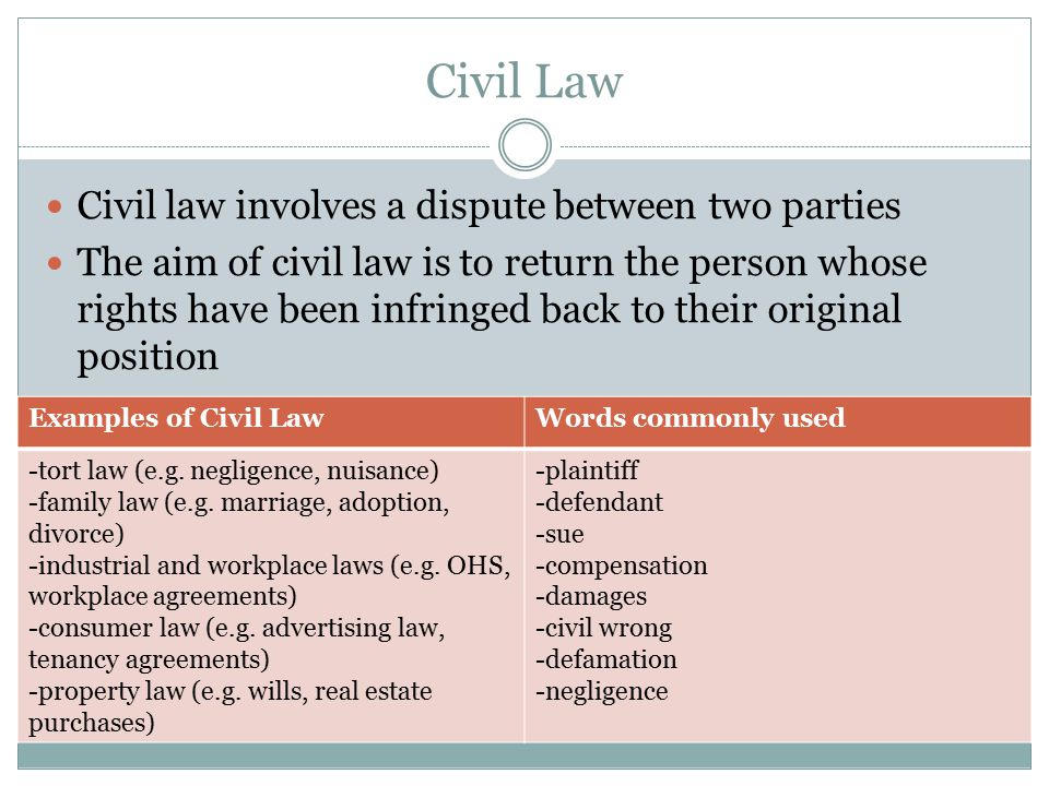 Civil Law Civil law involves a dispute between two parties