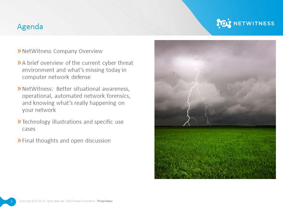 Agenda NetWitness Company Overview