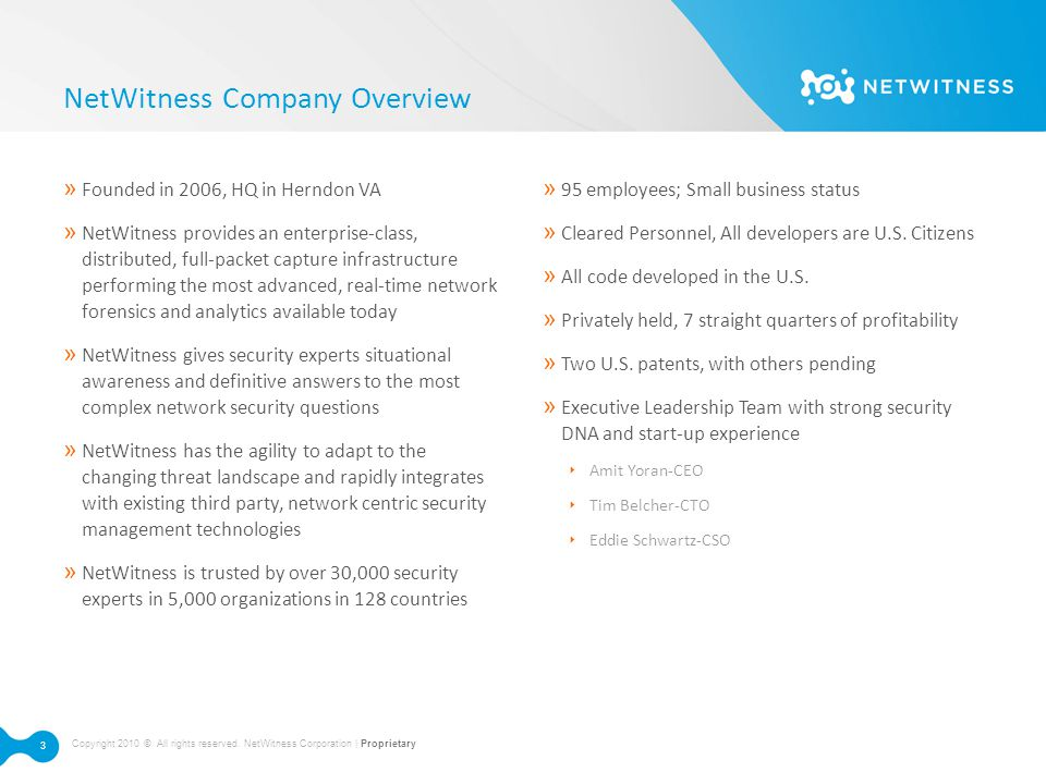 NetWitness Company Overview