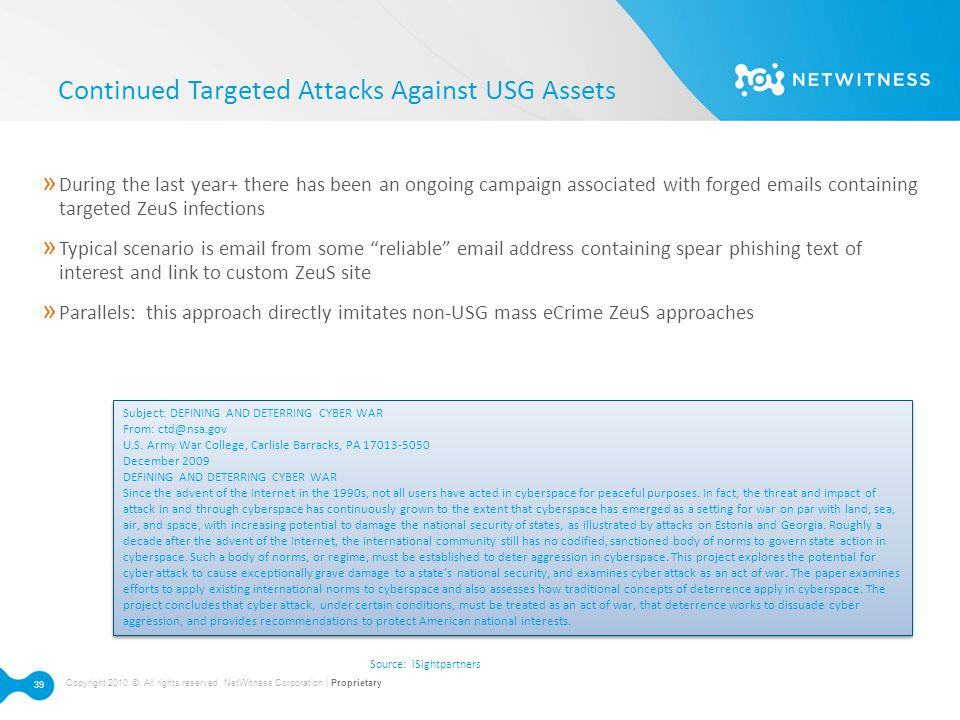Continued Targeted Attacks Against USG Assets