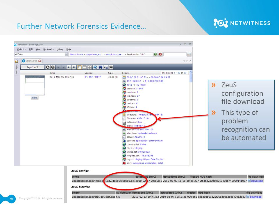 Further Network Forensics Evidence…