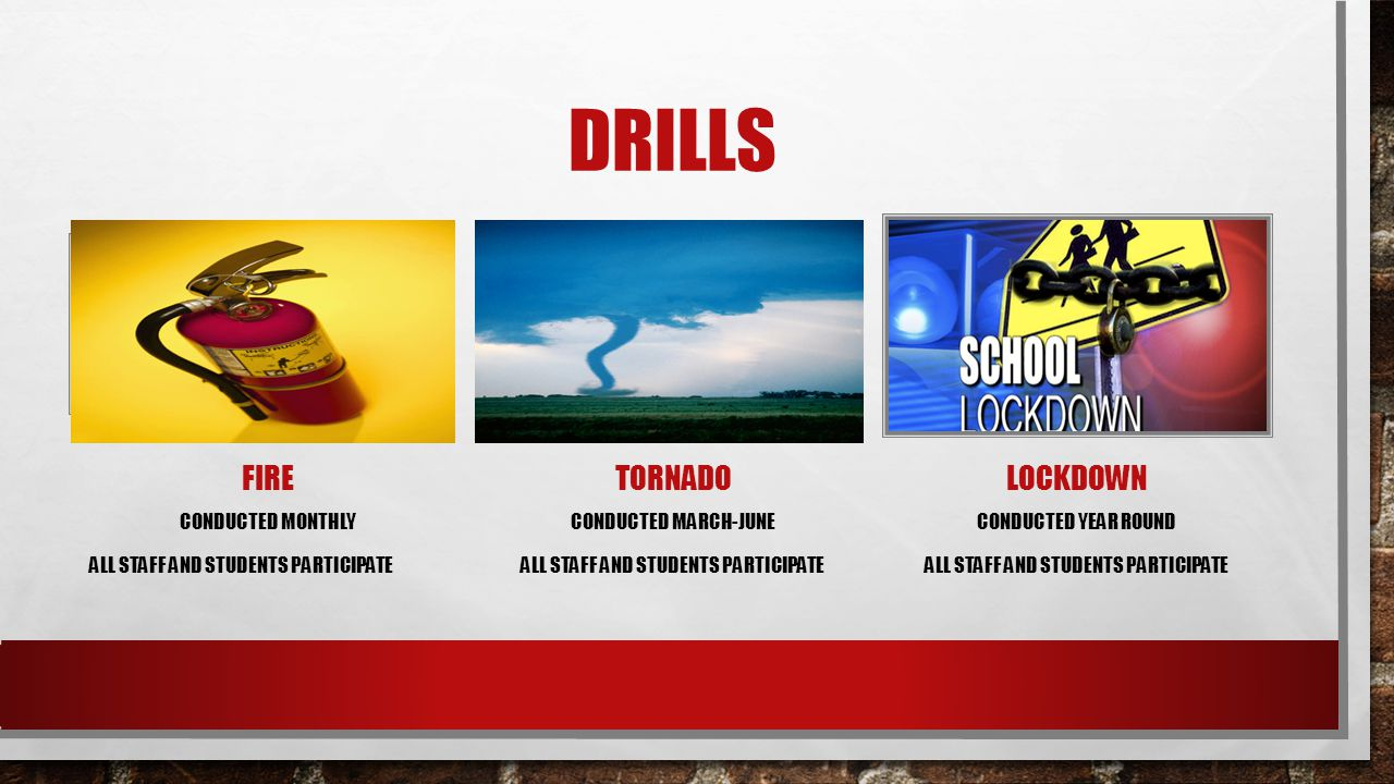 Drills Fire tornado Lockdown Conducted Monthly