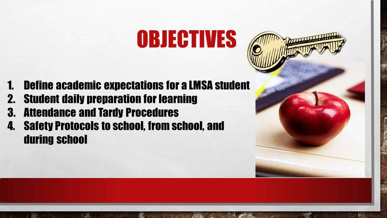 Objectives Define academic expectations for a LMSA student