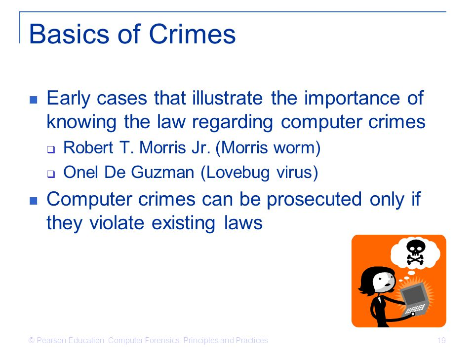 Basics of Crimes Early cases that illustrate the importance of knowing the law regarding computer crimes.