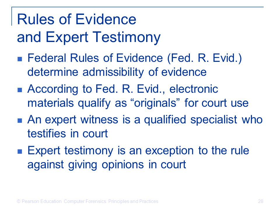 Rules of Evidence and Expert Testimony