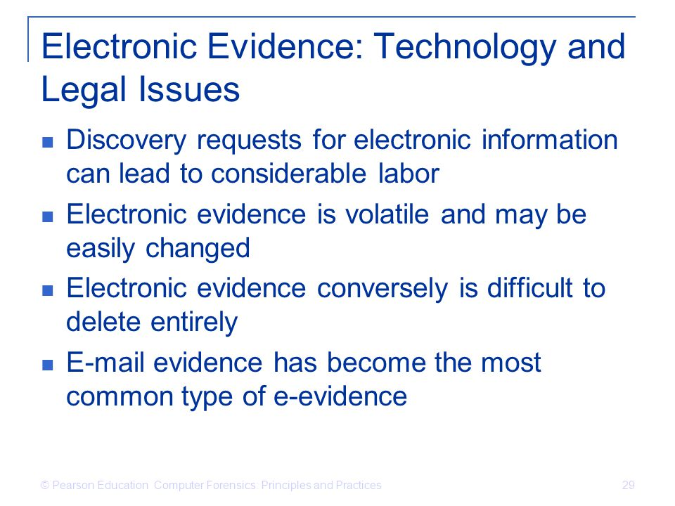 Electronic Evidence: Technology and Legal Issues