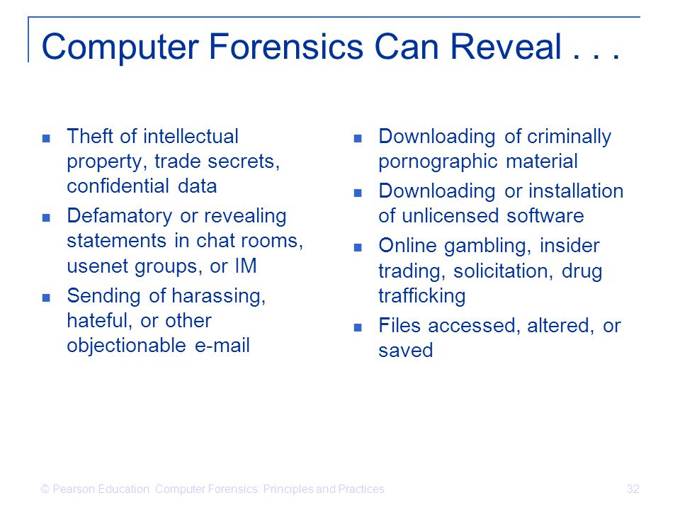 Computer Forensics Can Reveal . . .