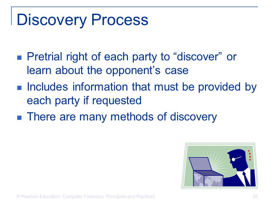 Discovery Process Pretrial right of each party to discover or learn about the opponent's case.
