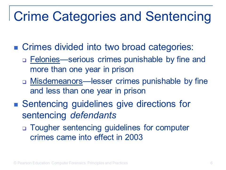 Crime Categories and Sentencing