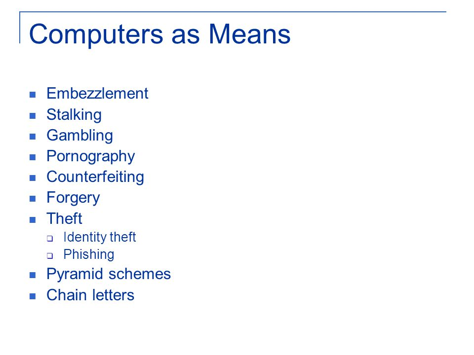 Computers as Means Embezzlement Stalking Gambling Pornography