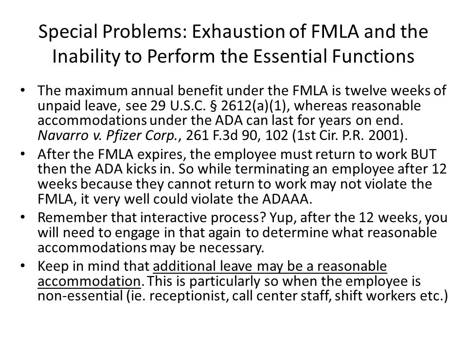 Special Problems: Exhaustion of FMLA and the Inability to Perform the Essential Functions