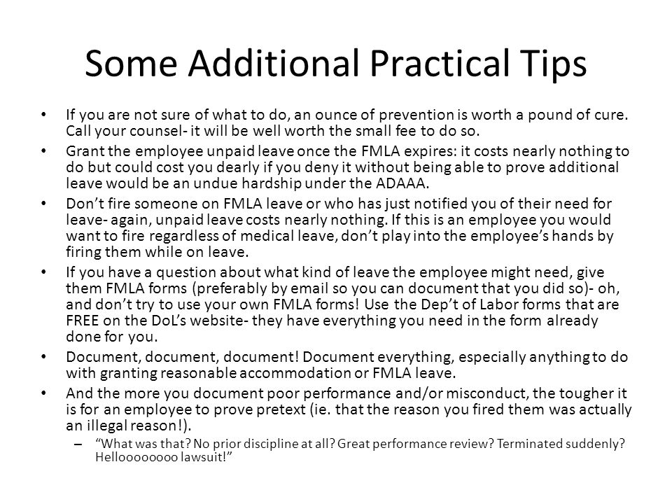 Some Additional Practical Tips