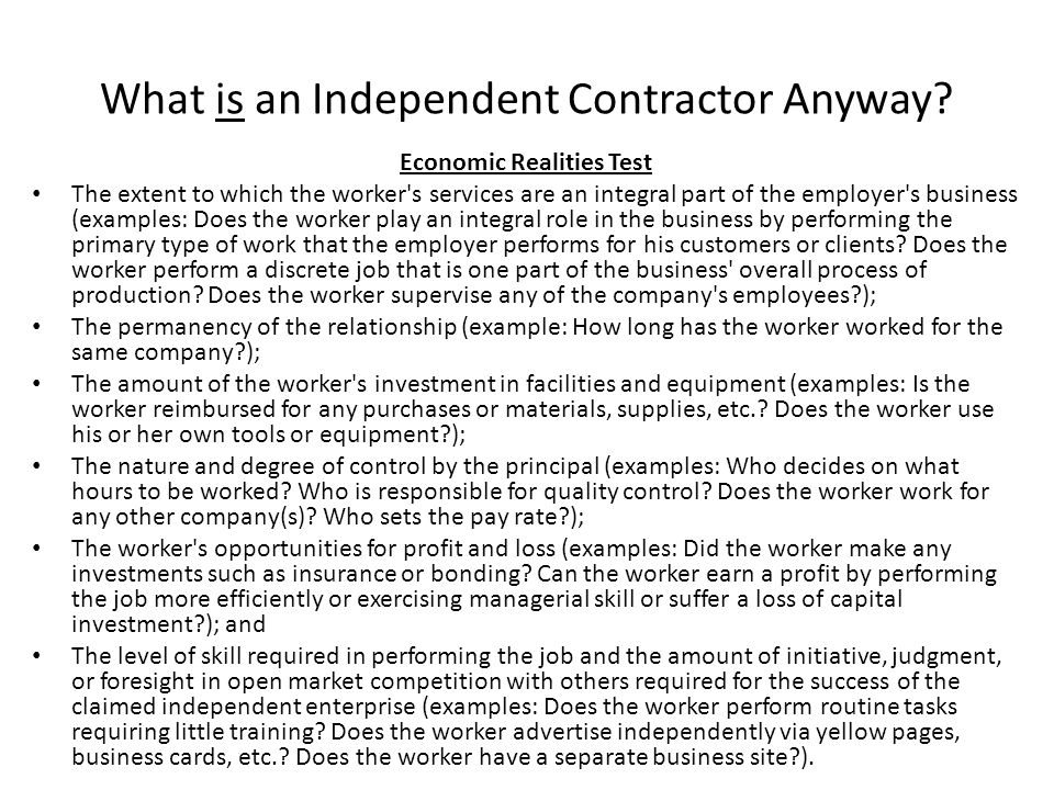 What is an Independent Contractor Anyway
