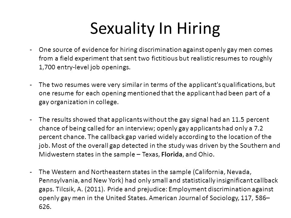 Sexuality In Hiring