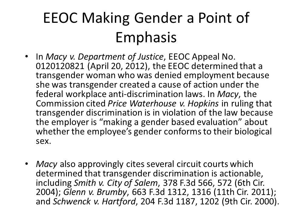EEOC Making Gender a Point of Emphasis