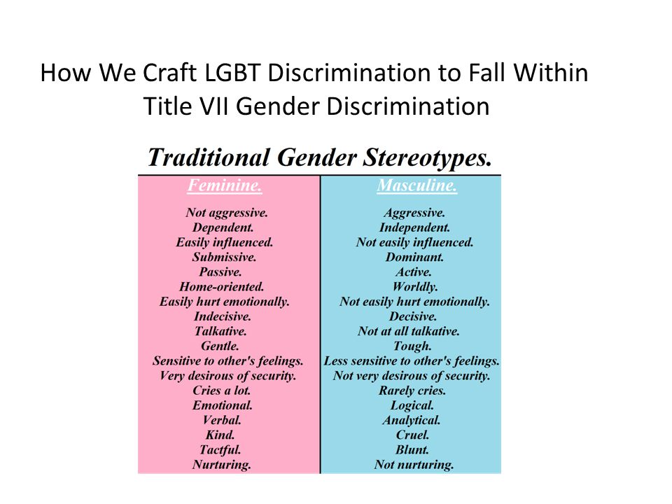 How We Craft LGBT Discrimination to Fall Within