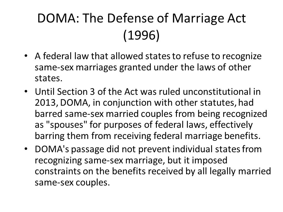 DOMA: The Defense of Marriage Act (1996)