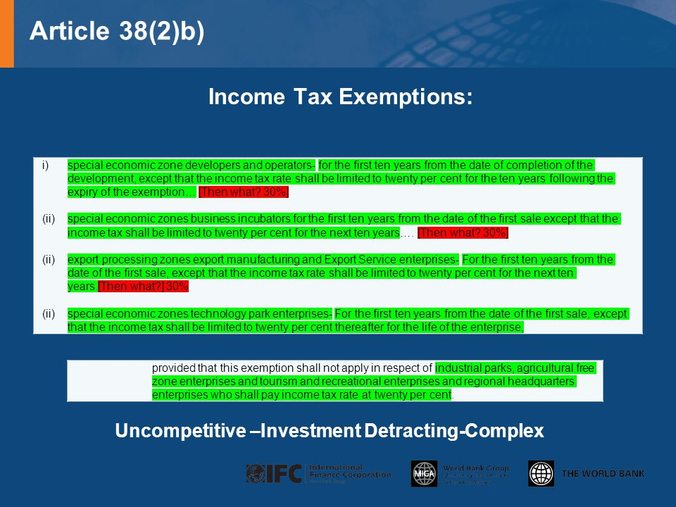 Income Tax Exemptions: Uncompetitive –Investment Detracting-Complex