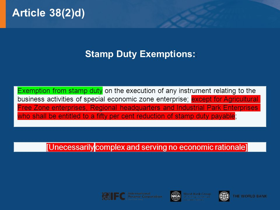 Article 38(2)d) Stamp Duty Exemptions::