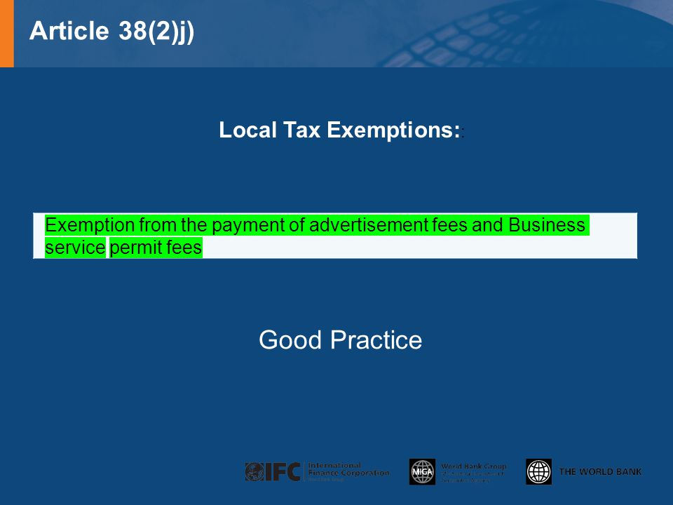 Local Tax Exemptions::