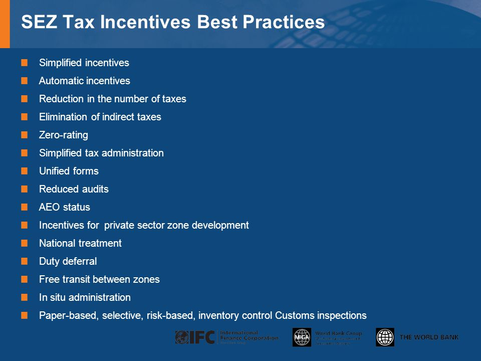 SEZ Tax Incentives Best Practices