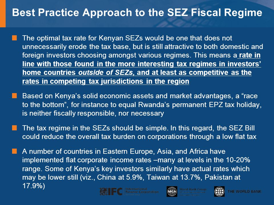 Best Practice Approach to the SEZ Fiscal Regime