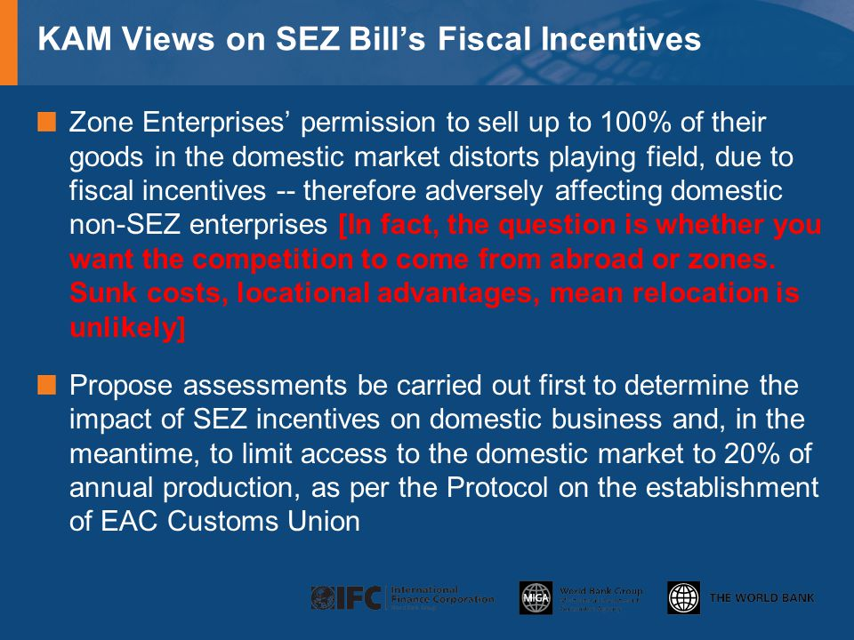 KAM Views on SEZ Bill's Fiscal Incentives