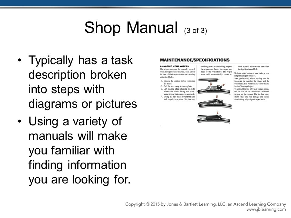 Shop Manual (3 of 3) Typically has a task description broken into steps with diagrams or pictures.