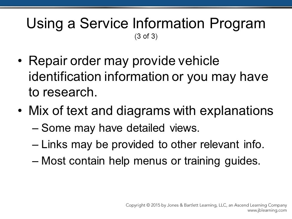 Using a Service Information Program (3 of 3)