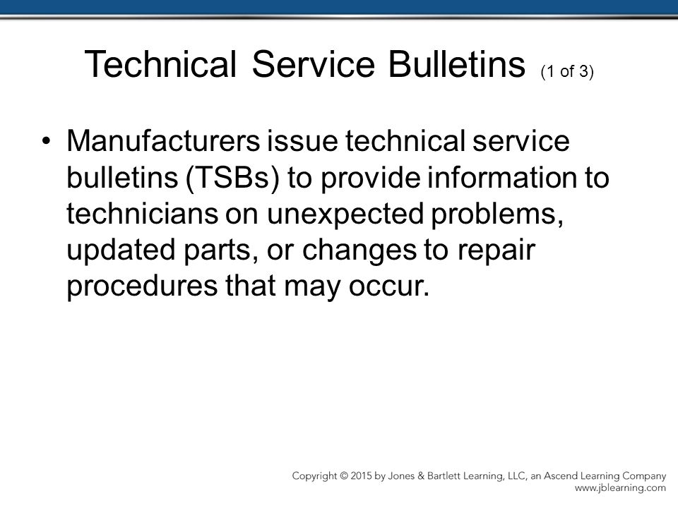 Technical Service Bulletins (1 of 3)
