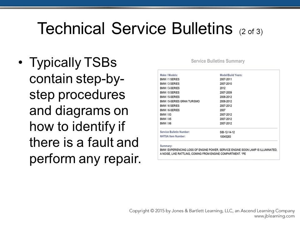 Technical Service Bulletins (2 of 3)