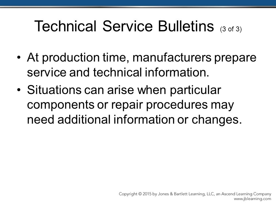 Technical Service Bulletins (3 of 3)