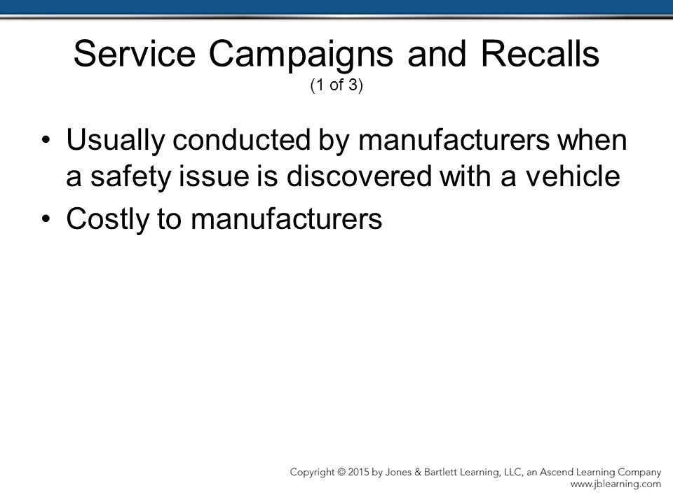 Service Campaigns and Recalls (1 of 3)