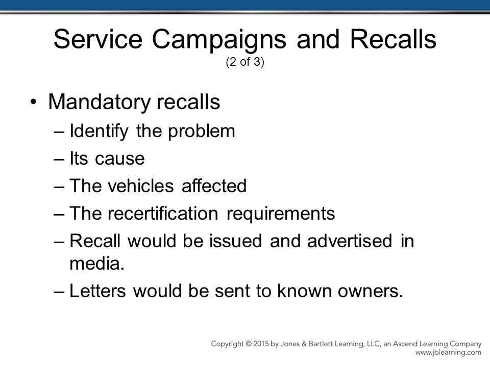 Service Campaigns and Recalls (2 of 3)
