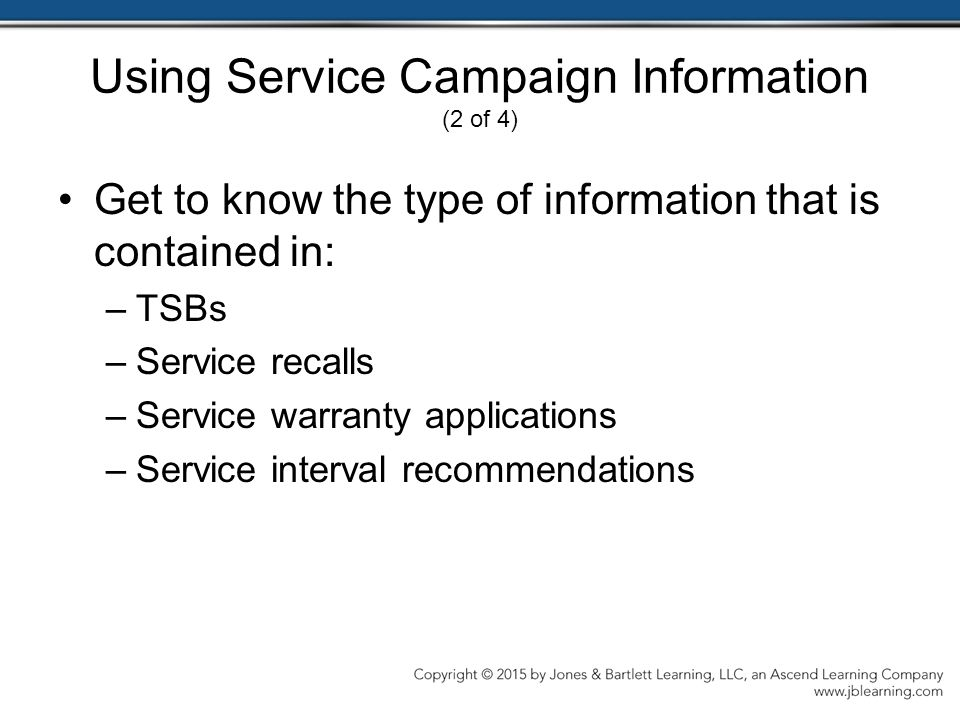 Using Service Campaign Information (2 of 4)
