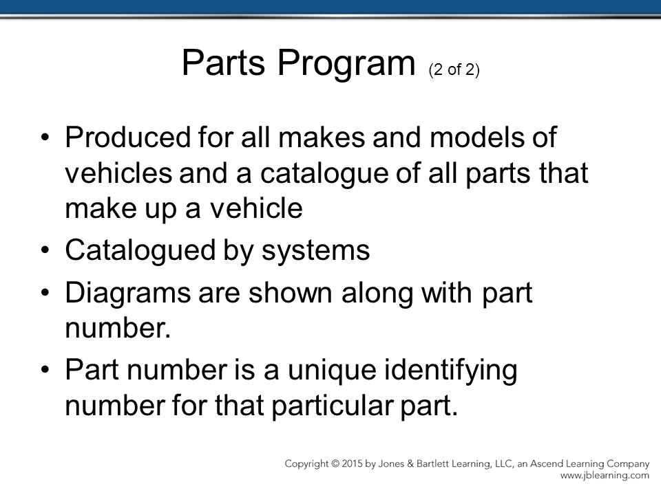 Parts Program (2 of 2) Produced for all makes and models of vehicles and a catalogue of all parts that make up a vehicle.