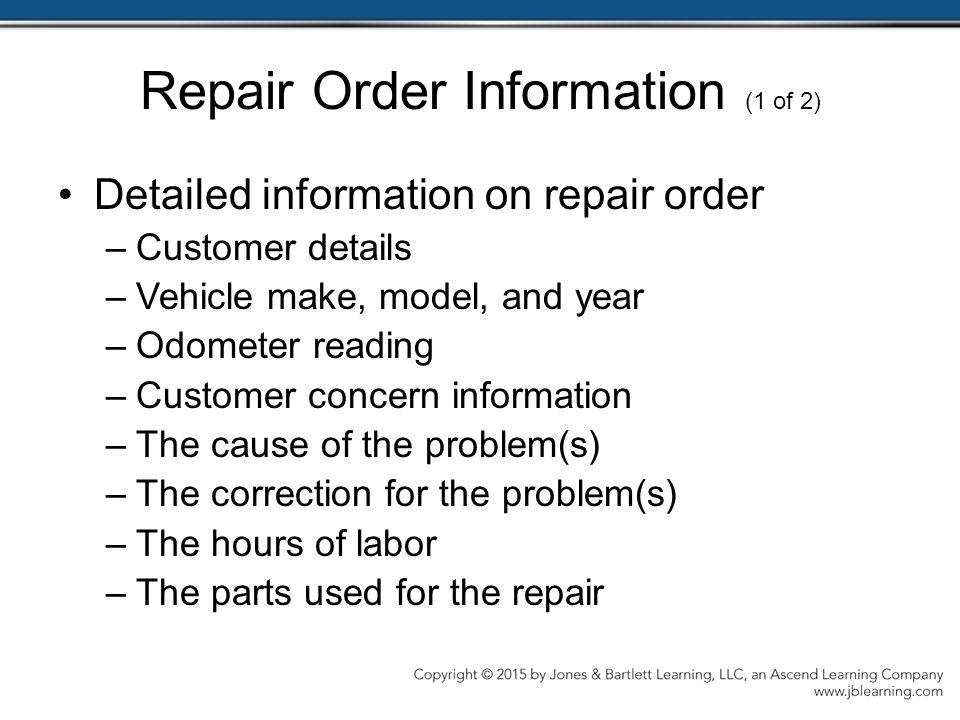 Repair Order Information (1 of 2)